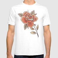 Rose On A Stem Mens Fitted Tee White SMALL