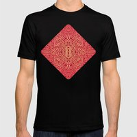 Radiate (Red Yellow Ochre non-metallic) Mens Fitted Tee Black SMALL
