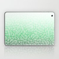 Gradient green and white swirls doodles Laptop & iPad Skin