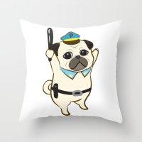 Animal Police - Pug Throw Pillow