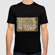 Live Love Travel Black SMALL Mens Fitted Tee