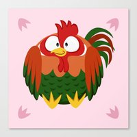 Rooster from the circle series Canvas Print