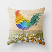 The Cockerel and The Jewel Throw Pillow