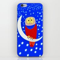 Owl lands on the moon iPhone & iPod Skin