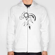 Wanderlust pen and ink drawing Mountains, Moon, Sun, Ocean Waves Hoody