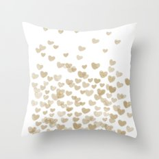 Gold Glitter Hearts - White Background for Valentines Day, Love, Bokeh, for trendy girls cell phone Throw Pillow