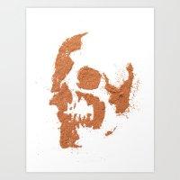 149. Cocoa Stencil Skull Art Print