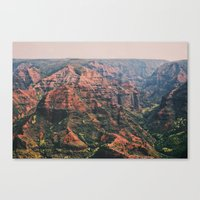 Vintage Hawaii Canyon Canvas Print