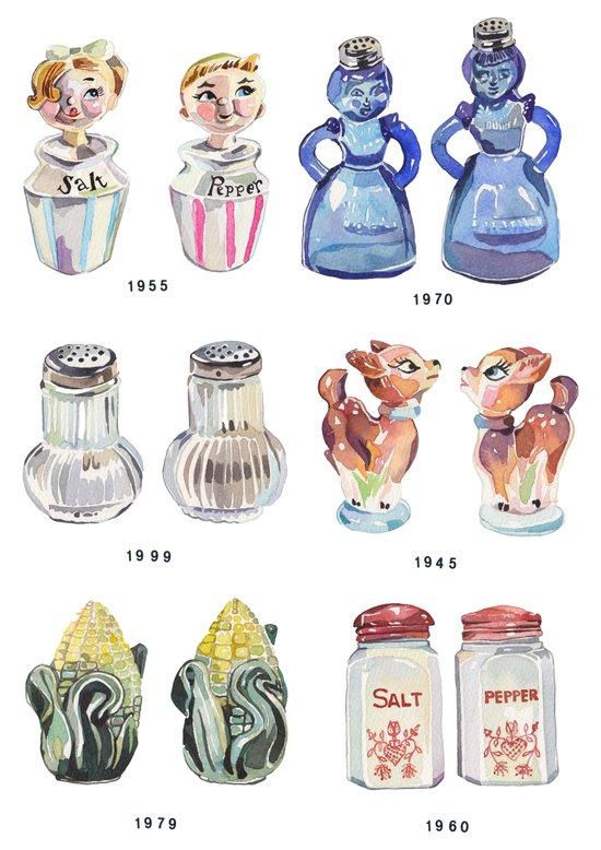 Collection of Vintage Salt & Pepper Shakers Art Print