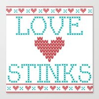 Love Stinks Cross Stitch Canvas Print