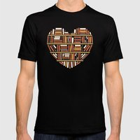 I Heart Books Mens Fitted Tee Black SMALL