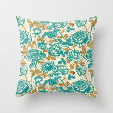 Cyan roses Toile de Jouy Throw Pillow