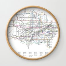U.S. Numbered Highways as a Subway Map Wall Clock