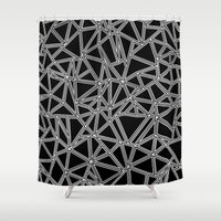Abstract New White On Bl… Shower Curtain