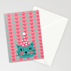 Cat Party hat Stationery Cards
