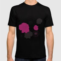 Black and Pink Roses on White Mens Fitted Tee Black SMALL
