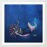 Mermaid & Sailor Art Print