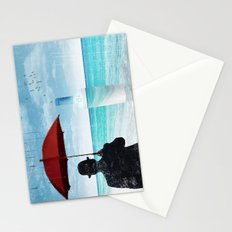 Chaplin at the beach in the rian Stationery Cards
