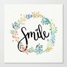 Smile, Watercolor Flowers Canvas Print