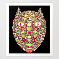 Demonic Dog Wolf Fox Art Print