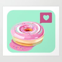 Pink Heart Frosted Donut Art Print