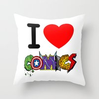 I LOVE COMICS Throw Pillow