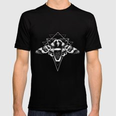 Geometric Moth 2 Black SMALL Mens Fitted Tee