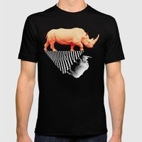 The orange rhinoceros who wanted to become a zebra Mens Fitted Tee Black SMALL