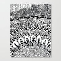 Black And White Doodle Canvas Print