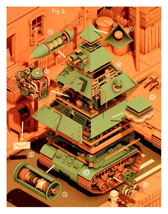 Super Tanklord Anatomy II Canvas Print