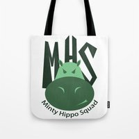 Minty Hippo Squad Tote Bag