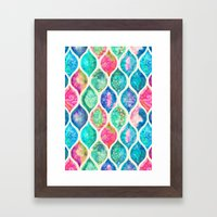 Watercolor Ogee Patchwork Pattern Framed Art Print
