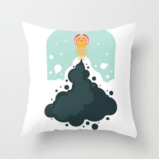 Rocket Octopus Throw Pillow