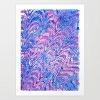 Blue Pink Curling Art Print