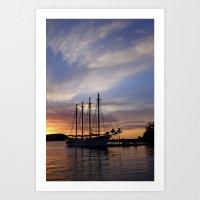 Schooner At Sun Rise Art Print