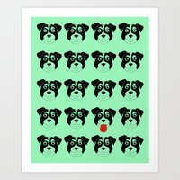 Dogs Green Art Print