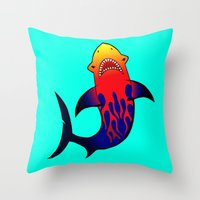 Fabulous Fire Shark  Throw Pillow