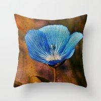 Flower Blue Throw Pillow