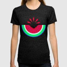 Super Fresh Watermelon Womens Fitted Tee Tri-Black SMALL