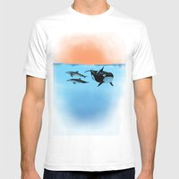 Orca and Dolphin Mens Fitted Tee White SMALL