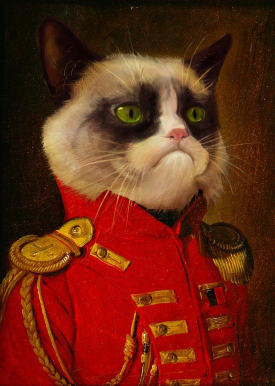 The cat is Grumpy Art Print