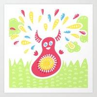Happy Jumping Creature Art Print