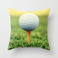 Golf Ball on Tee Throw Pillow