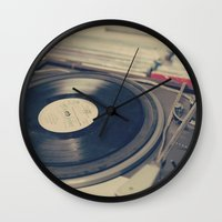 Vintage Turntable and Records  Wall Clock