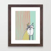 Cubist Cat Study #5 by Friztin Framed Art Print