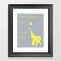 Elephant with Balloon: Tomorrow is a New Day Framed Art Print
