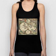 Old map of world hemispheres. Created by Frederick De Wit, 1668 Unisex Tank Top