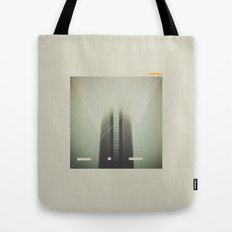 Devon Tower Divided By Fog Tote Bag