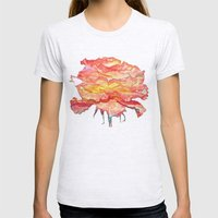 Flower - Digital Painting Womens Fitted Tee Ash Grey SMALL