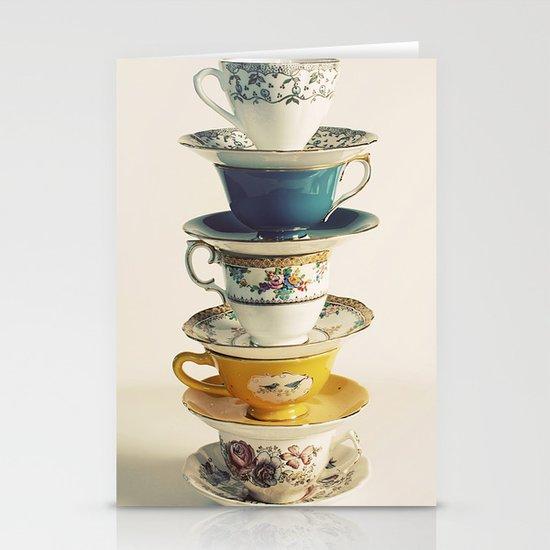 teacups Stationery Card